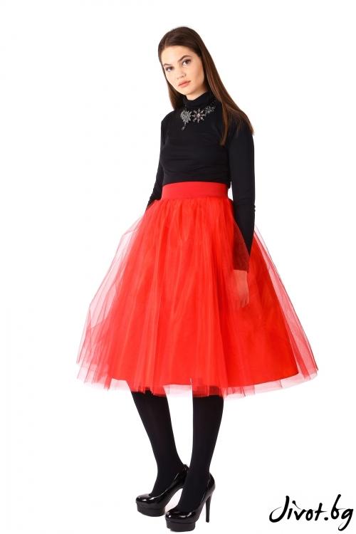 Дамска червена пола от тюл / ShuShi