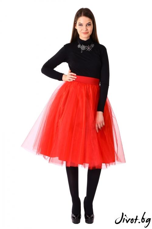Дамска червена пола от тюл