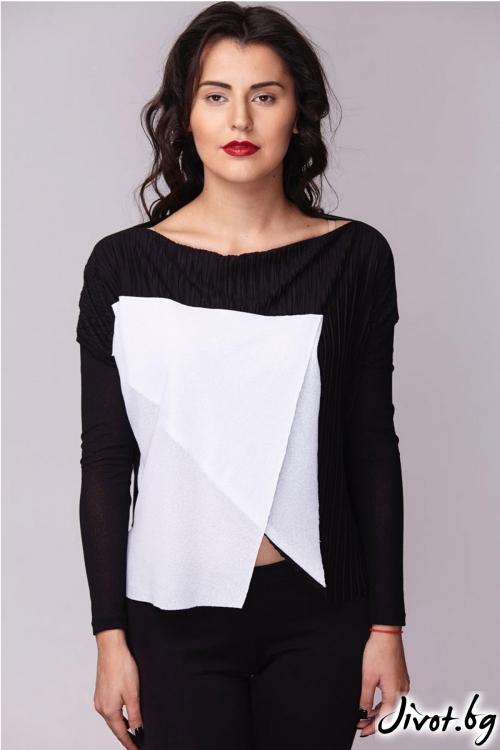 Блуза с загъната платка и техика Оригами / Модна къща АМБИЦИЯ