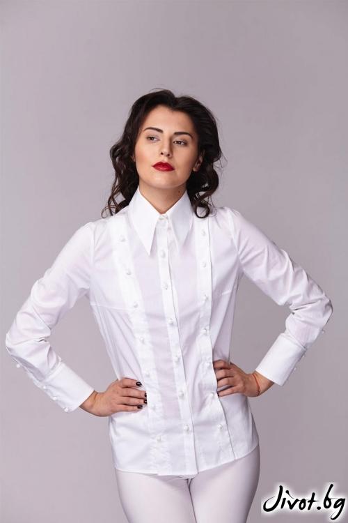 Бяла класическа риза с 3 редно закопчаване / Модна къща АМБИЦИЯ
