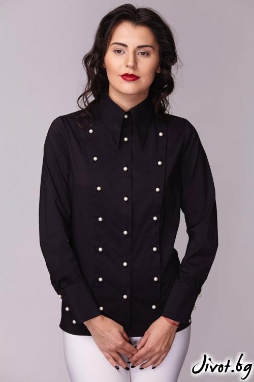 Черна класическа риза с 3 редно закопчаване / Модна къща АМБИЦИЯ