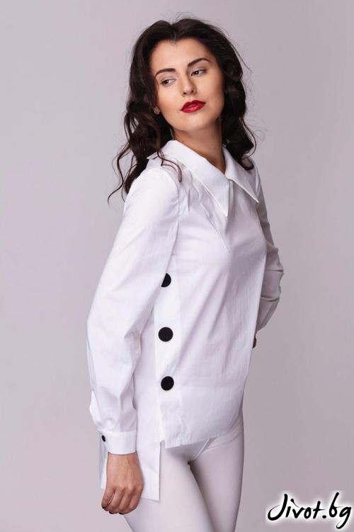 Бяла риза със странично закопчаване / Модна къща АМБИЦИЯ