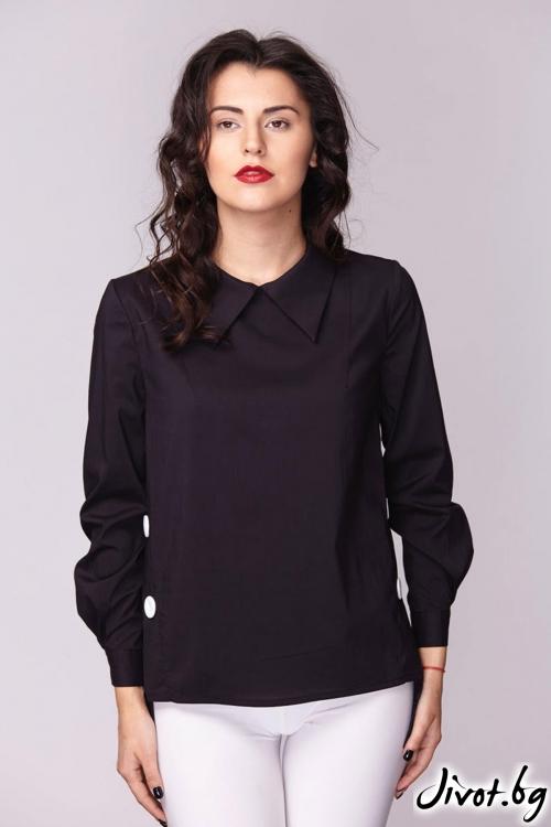 Черна риза със странично закопчаване / Модна къща АМБИЦИЯ