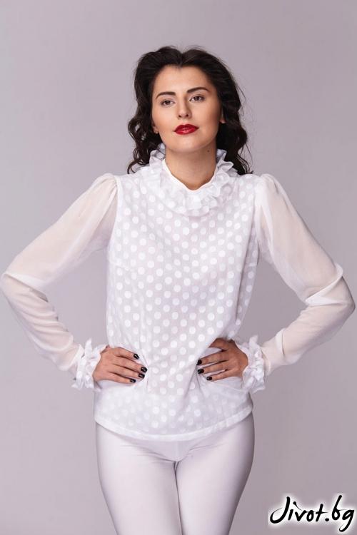 Бяла многопластова риза / Модна къща АМБИЦИЯ