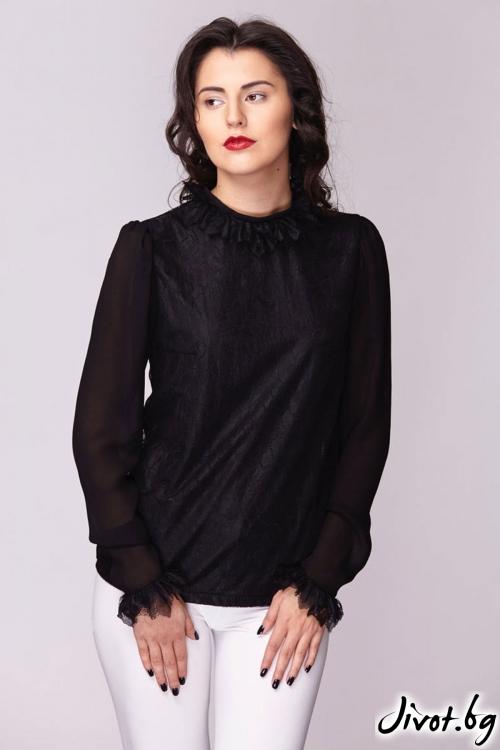 Черна многопластова риза / Модна къща АМБИЦИЯ