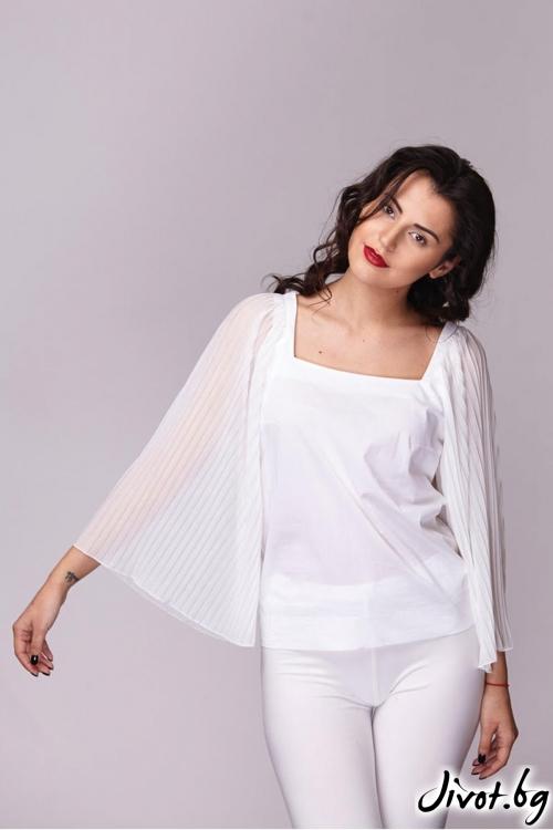 Бяла риза с квадратно деколте / Модна къща АМБИЦИЯ