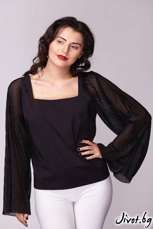 Черна риза с квадратно деколте / Модна къща АМБИЦИЯ