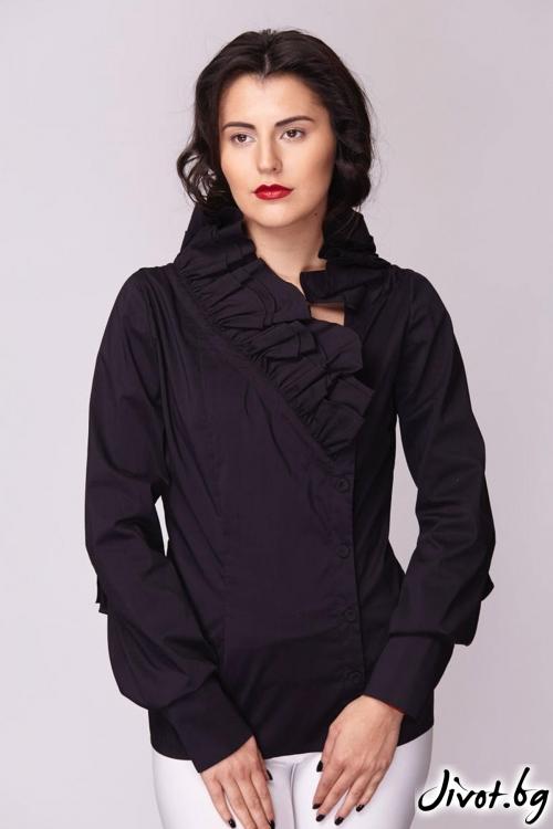Черна асиметрична риза / Модна къща АМБИЦИЯ