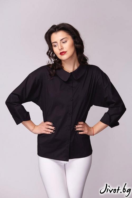Черна риза с прилеп ръкав / Модна къща АМБИЦИЯ