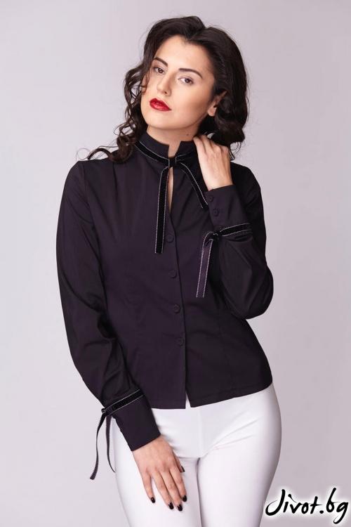 Елегантна вталена черна риза / Модна къща АМБИЦИЯ