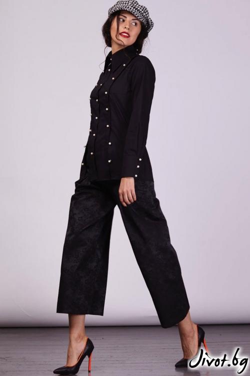 Черен панталон с широки крачоли / Модна къща АМБИЦИЯ