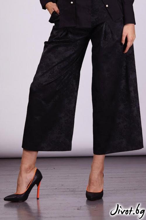 Черна панталон с широки крачоли / Модна къща АМБИЦИЯ
