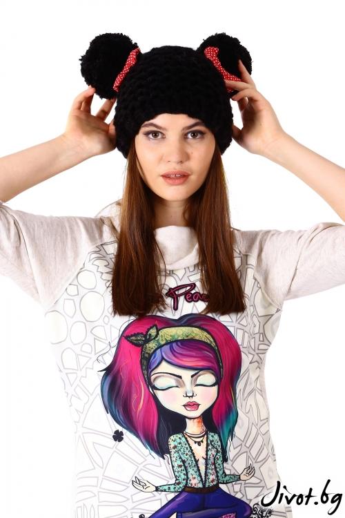 Ръчно плетена шапка в черен цвят / Cherie Marie