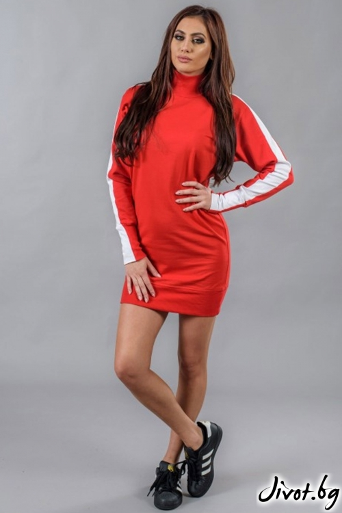 Уникален червен дамски блузон / BAZA