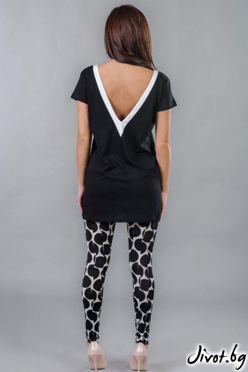 Черна дамска дълга тениска с гол гръб / BAZA