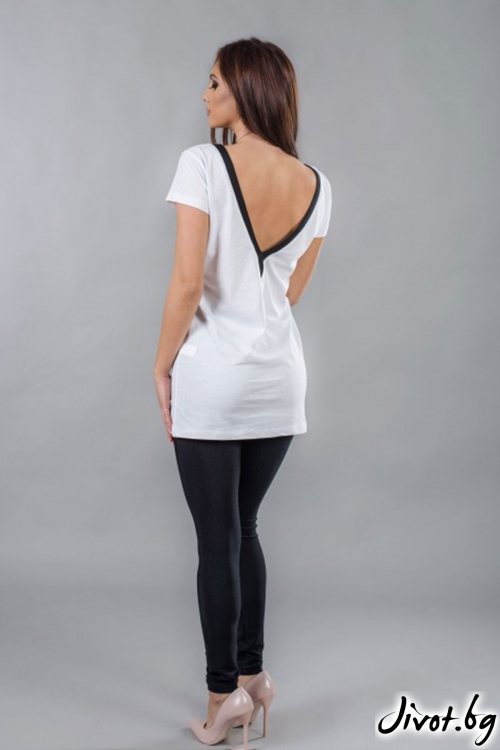 Бяла дамска дълга тениска с гол гръб BW123 / BAZA