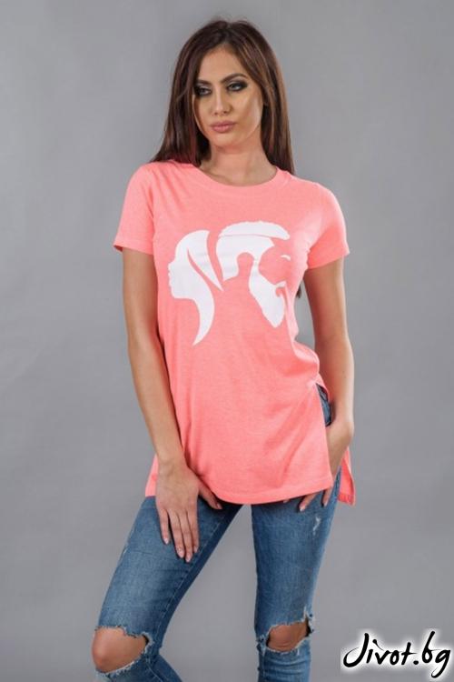 Дълга дамска тениска с принт BW117 / BAZA