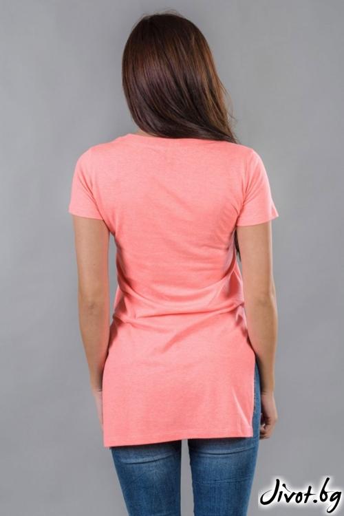 Розова дамска дълга тениска / BAZA
