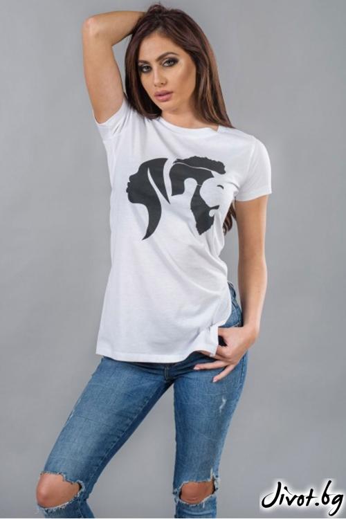Бяла дамска тениска с принт BW116 / BAZA