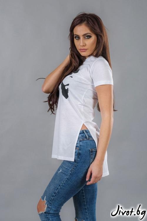 Бяла дамска дълга тениска / BAZA