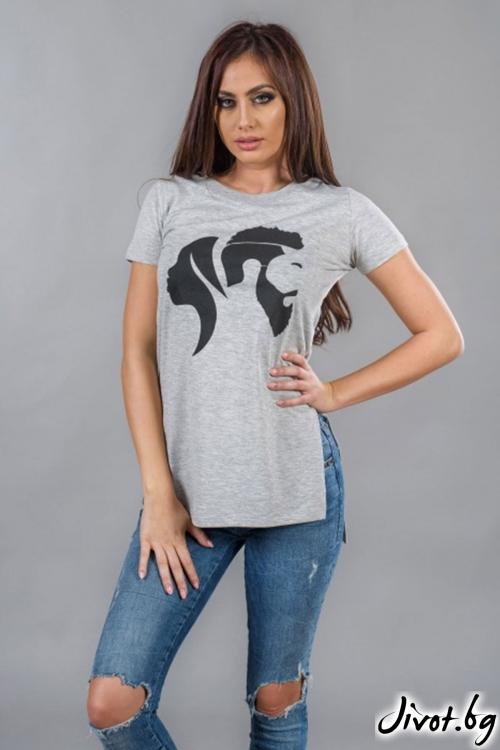 Сива дамска дълга тениска BW114 / BAZA