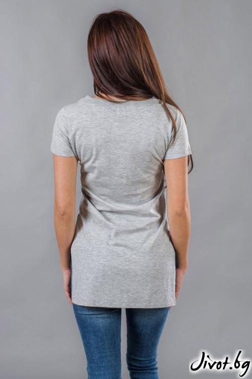 Сива дамска дълга тениска / BAZA