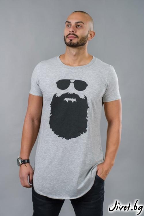 Сива мъжка дълга тениска BM504 / BAZA