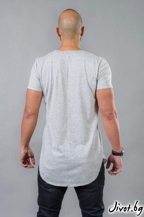 Сива мъжка дълга тениска / BAZA