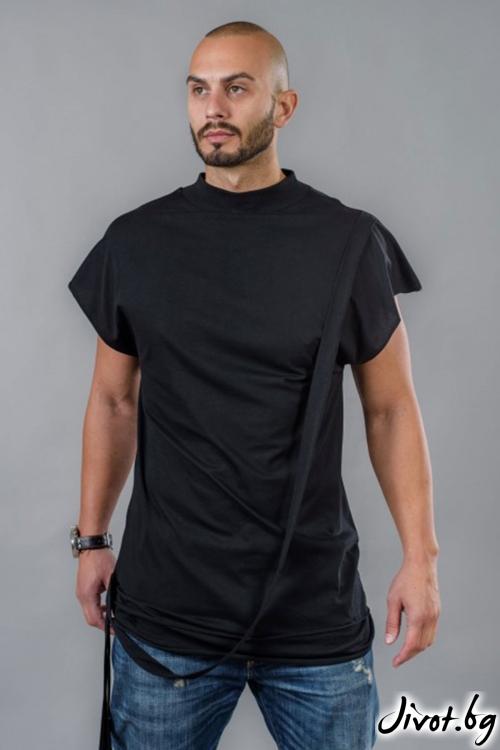Мъжкa дълга тениска с лента отред BM514 / BAZA