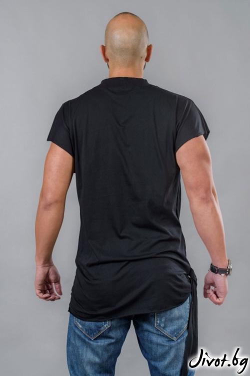 Мъжкa дълга тениска с лента отред / BAZA