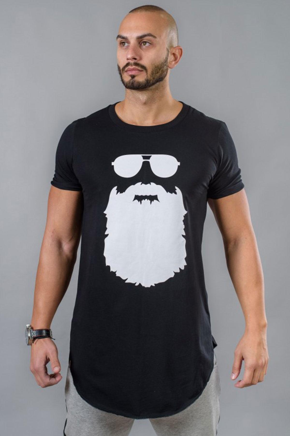 Черна мъжка тениска принт / BAZA