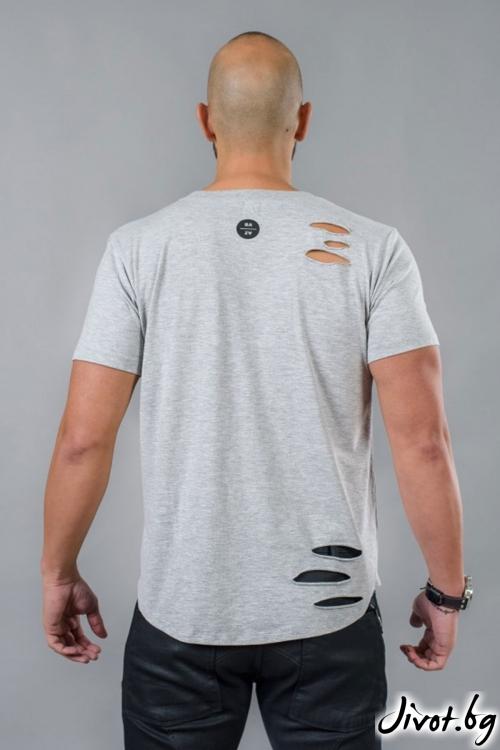 Накъсана сива мъжка тениска / BAZA
