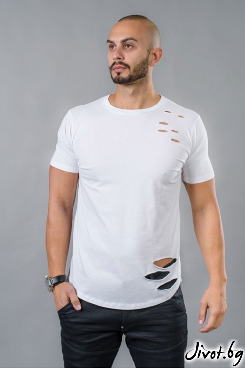 Накъсана бяла мъжка тениска / BAZA