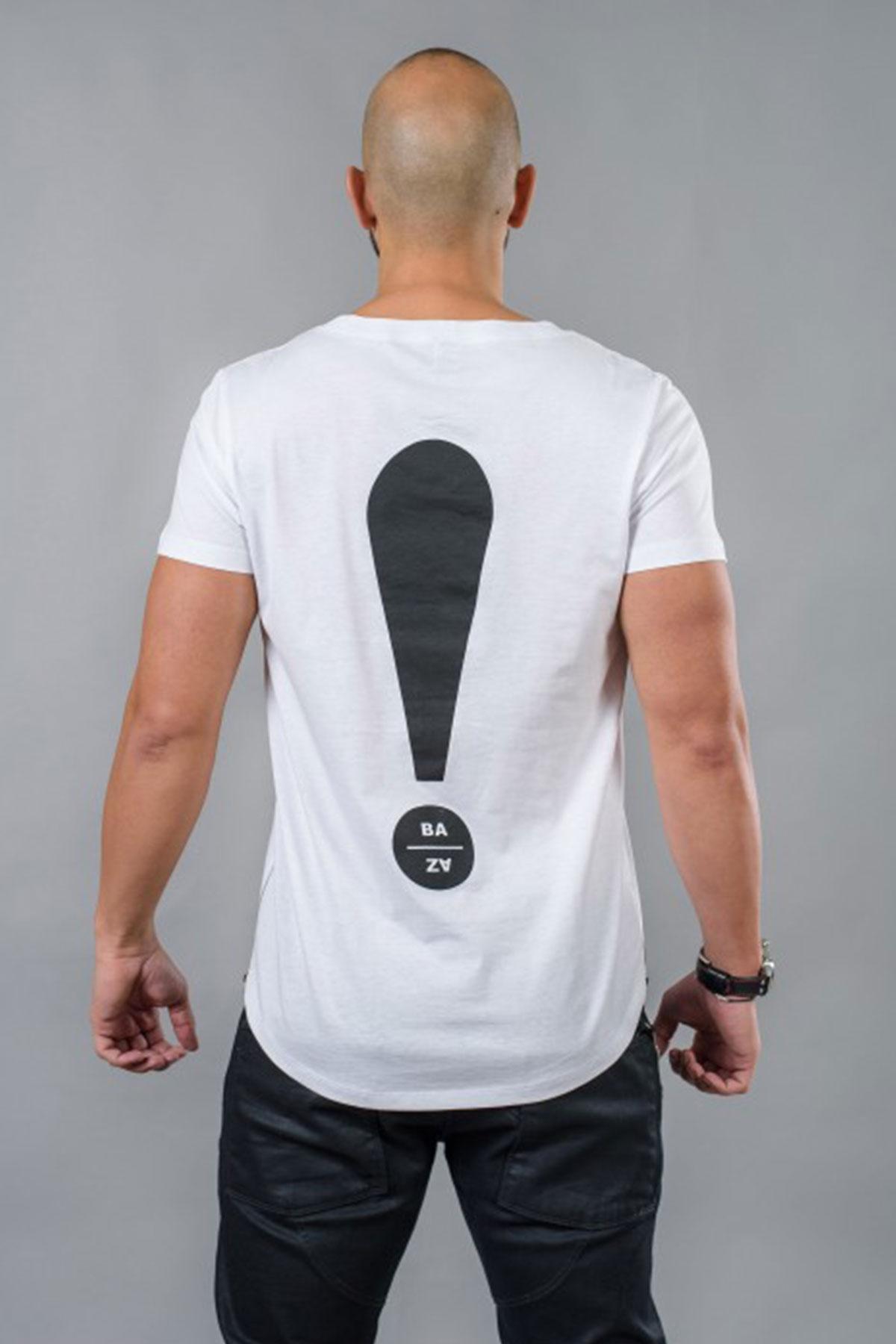 Интересна бяла мъжка тениска / BAZA