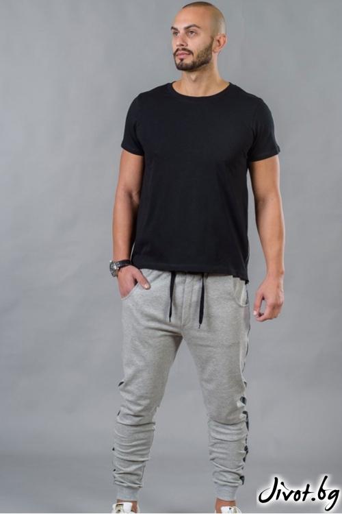 Сив спортен мъжки панталон с кант BM528 / BAZA