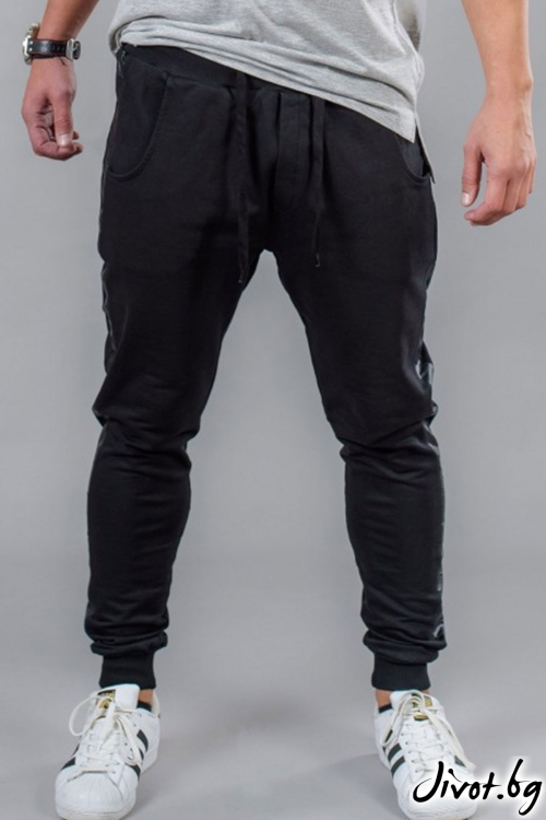 Черно мъжко долнище с кант / BAZA