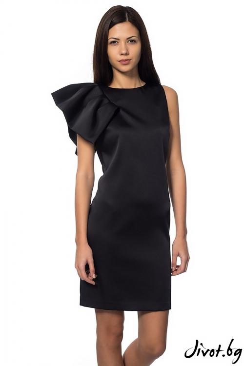 Вталена дамска рокля Black Flower / Décollage