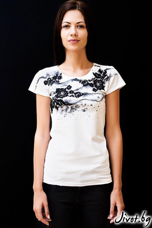 Тениска Black roses / Décollage