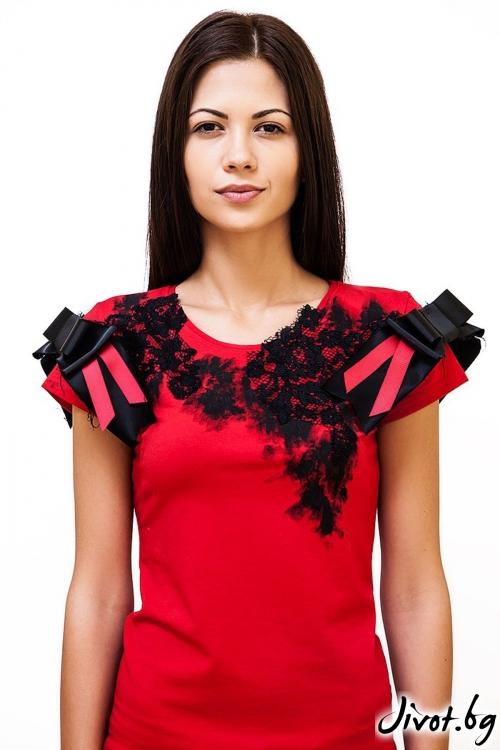 Червена дамска тениска My romance / Décollage