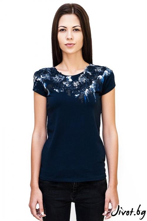 Тъмно синя тениска Night roses / Décollage