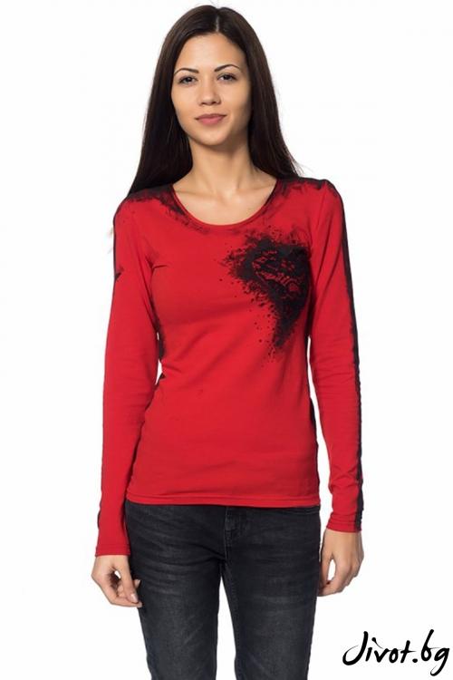 Червена дамска блуза Black heart / Décollage