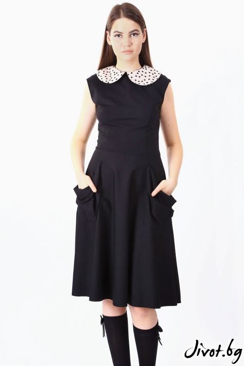 Красива черна рокля с бяла яка / SHOP MY J