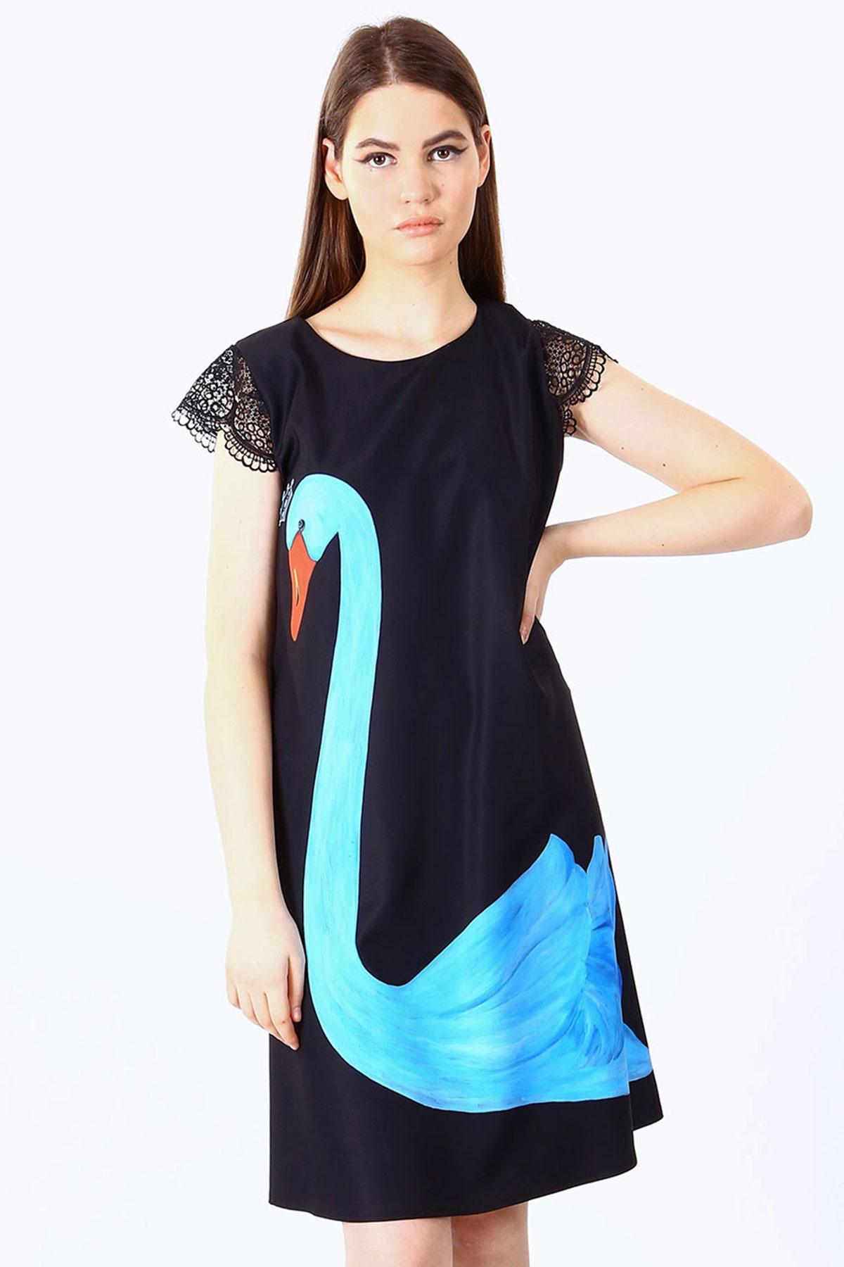 Дамска рокля с дантелени ръкави / SHOP MY J