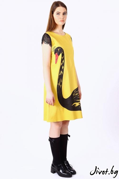 Елегантна рокля с дантелени ръкави / SHOP MY J