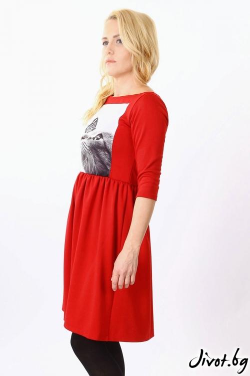 Червена дамска рокля със щампа / VЯRA за MUSE SHOP