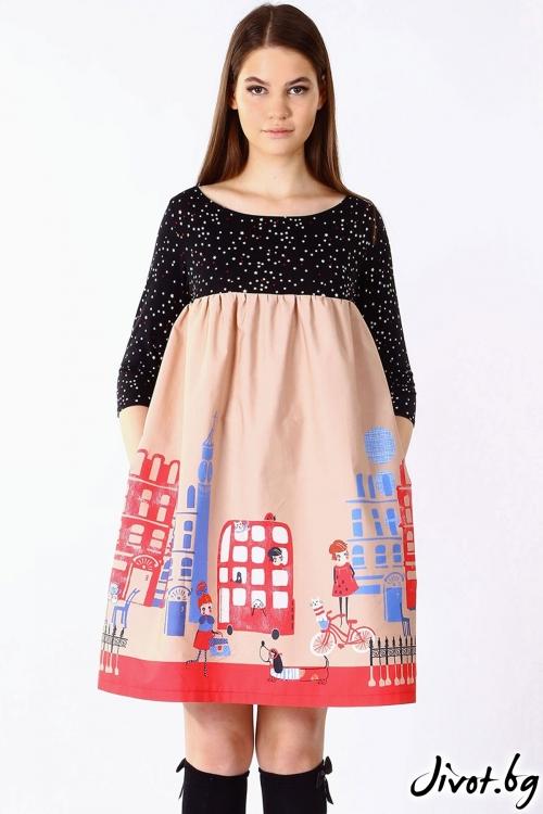 Красива дамска рокля с джобове / VЯRA за MUSE SHOP