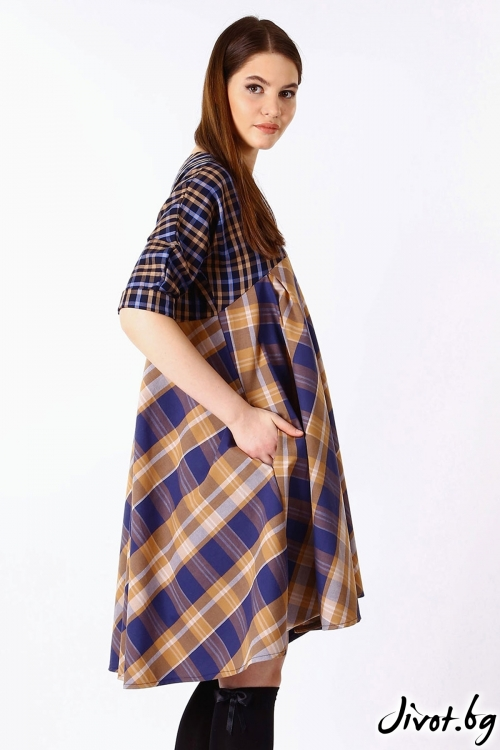 Красива дамска рокля с асиметричен силует / Handmade by Monkey Fiction