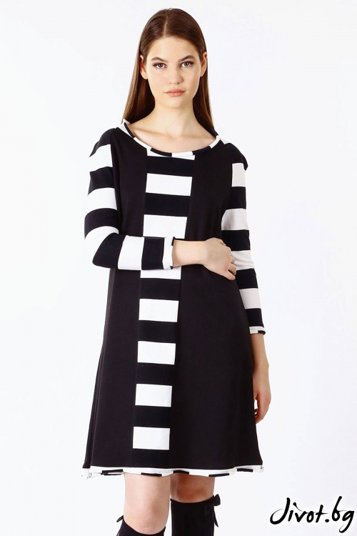Къса черна рокля с ръкави и райета / FABRA MODA STUDIO