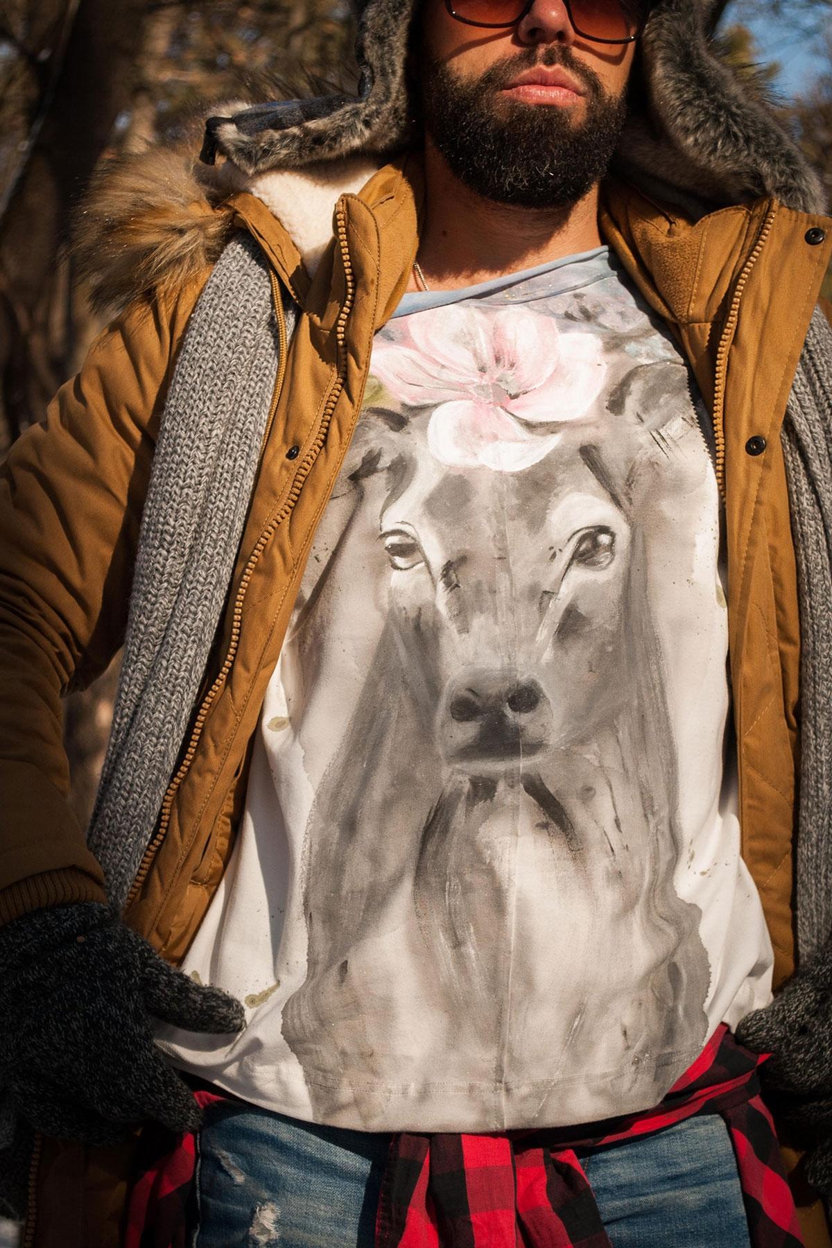 """Ръчно рисувана мъжка блуза """"Елен"""" / EGO Te Provoco"""