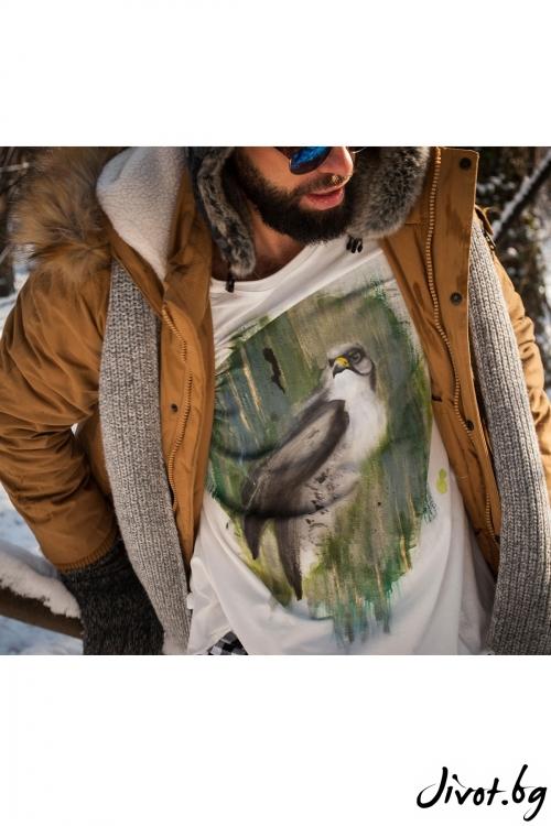 "Ръчно рисувана мъжка блуза ""Орел"" / EGO Te Provoco"